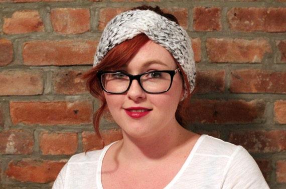 Chunky Knit Turban Twist Headband Earwarmer - Grey Tweed
