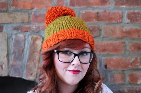 Custom Order: Child's Knit Two-toned Oversized Pom Pom Beanie Hat - Orange and Golden Green