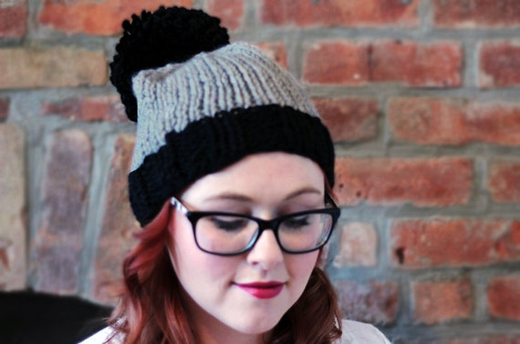 Knit Two-toned Oversized Pom Pom Beanie Hat - Black and Light Grey