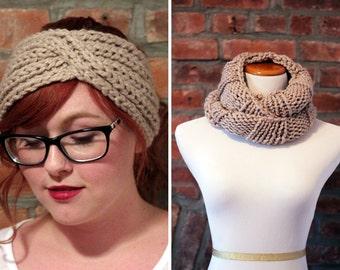 Gift Set - Chunky Knit Turban Headband Earwarmer and Infinity Scarf - Beige