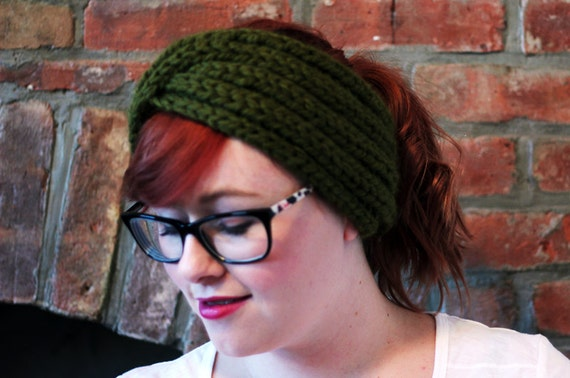 Chunky Knit Turban Headband Earwarmer - Olive Green