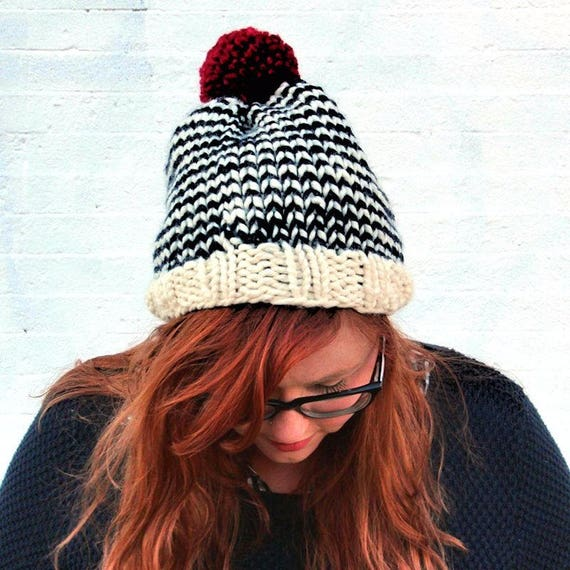 01867cd70fb Knit Striped Pom Pom Beanie Hat Cream Navy and Cranberry