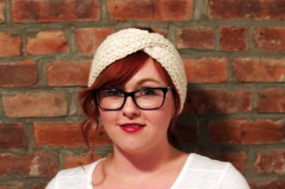 Chunky Knit Turban Headband Earwarmer - Cream