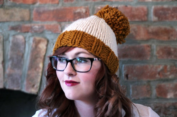 Knit Two-toned Oversized Pom Pom Beanie Hat - Golden Orange and Cream