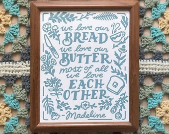 Bread and Butter 8 x 10 Sea Botanical Madeline Nursery Book Screen Print on Paper