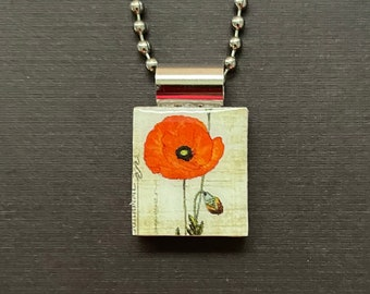 Hand Sculpted Ceramic Orange and Black California Poppy with Crystal or Ceramic Embellishment Spring Fall POPPY Pendant Statement Necklace