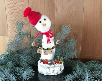 One Of A Kind Needle Felted Snowman, Solid Wool Snowman, Wool Snowman, Handmade Holiday Gift, Handmade Christmas Decoration, JOY Snowman