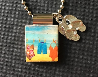 Handmade Summertime Jewelry, summer clothing, clothesline, recycled scrabble tile jewelry, summer pendant, swimsuit jewelry, flip flop charm