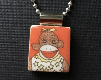 sock monkey jewelry, handmade sock monkey necklace, handmade jewelry, sock monkey pendant, girl sock monkey, recycled scrabble necklace,