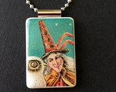 Vintage Halloween Witch Pendant, Halloween necklace, witch jewelry, handmade Halloween jewelry, mahjong tile jewelry, witch and owl pendant