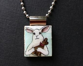 Bunny jewelry, chocolate bunny pendant, handmade bunny jewelry, rabbit necklace, Handmade Easter gift, bunny pendant, recycled scrabble tile
