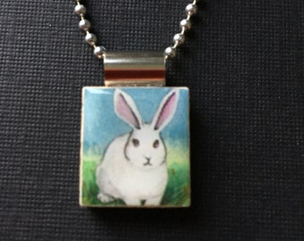 Bunny pendant, handmade Easter jewelry, handmade bunny necklace, Easter gift, bunny necklace, rabbit jewelry, recycled scrabble tile jewelry