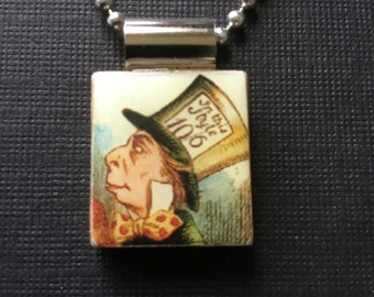 Mad Hatter Necklace, Mad Hatter Pendant, Alice in Wonderland jewelry, Scrabble tile jewelry, recycled scrabble tile, homemade jewelry,