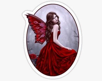 Winter Rose Butterfly Fairy Sticker