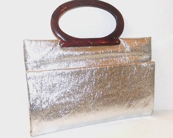 1960s purse / vintage 60s handbag / market bag / Silver Foil Market Tote
