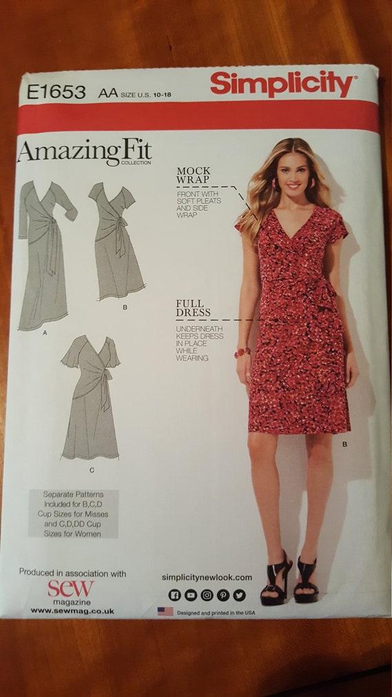 Simplicity E1653 Amazing Fit Mock Wrap Dress