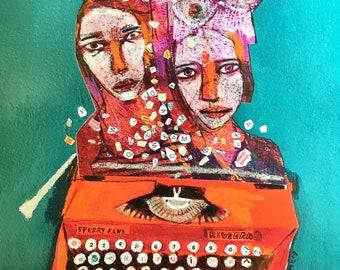 EMERY archival giclee PRINT  (see full pic for image) typewriter art women characters  portrait  folk art  outsider artist