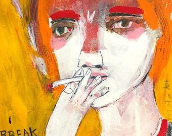 2ef3c7ae455c EMERY original painting 'i break' woman jill emery smoking folk art  outsider art expressionism social media