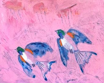 376d92307d9d EMERY original painting ' cork town swallows look for you' jill emery birds  folk art outsider swallows free shipping