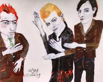 EMERY archival giclee Print 'nightclubbing' folk art schiele bowie iggy lets dance outsider art