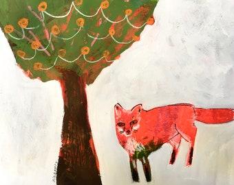 EMERY original painting ' just nature ' jill emery fox  folk art  tree outsider quiet free shipping