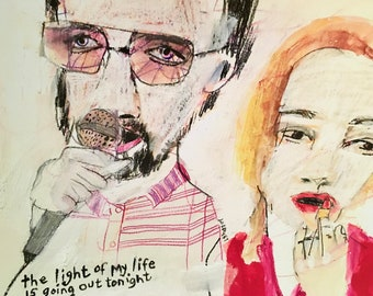 EMERY archival giclee PRINT signed 'Berman and cassie light of my life is going out tonight' Berman portrait folk art outsider artist