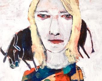 EMERY original painting 'kim gordon lets her taurus graze' sonic youth folk art outsider artist bull