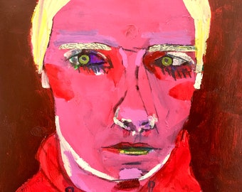 EMERY original painting 'bringing forth emotional side'  woman portrait  folk art  outsider artist