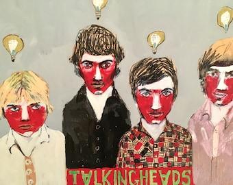 EMERY giclee PRINT 'Talking Heads' david byrne jerry harrison tina weymouth chris frantz portrait  folk art  outsider artist