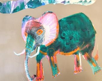 EMERY original painting ' walking free under friendly clouds' jill emery elephant  folk art outsider animal rights