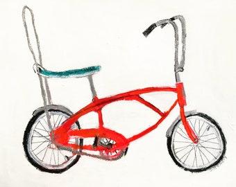 EMERY original painting 'childhood bike ' vintage bike bicycle art  folk art  outsider artist