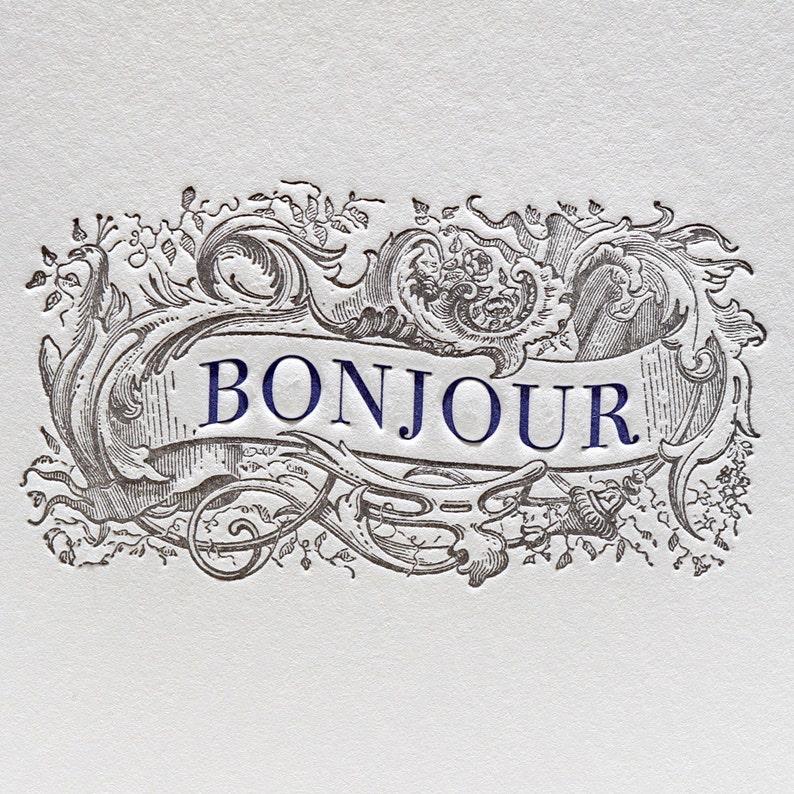Letterpress Card Bonjour Greeting Card in Purple & Black image 0