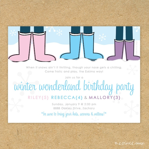 Cute printed winter wonderland birthday party invitation etsy image 0 filmwisefo