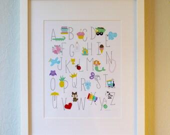 Cute Art Print - ABCs - 5x7, 8x10, or 11x14. Alphabet poster for nursery and kid room.