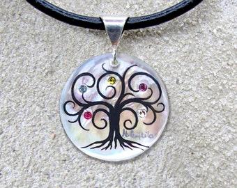 "Family Tree Necklace ""Medium Modern"" 7 stone max"