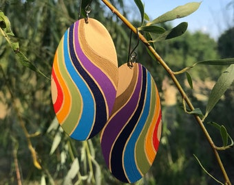 """New!! """"Maui"""" hand painted large earrings"""