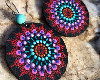 "SALE!!! ""Catrina"" hand painted mandala earrings"