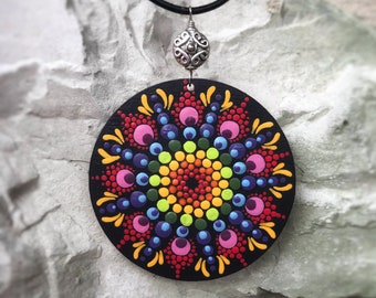 SALE!!! Tantric hand painted mandala necklace