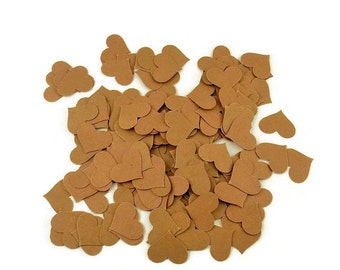Confetti Hearts in Kraft  Quantity 300 Pieces