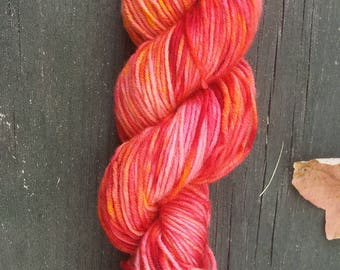 Blood Orange | Hand Dyed Yarn | 100% Superwash DK Merino Wool | 130 yards | Red, Orange, Yellow, Coral