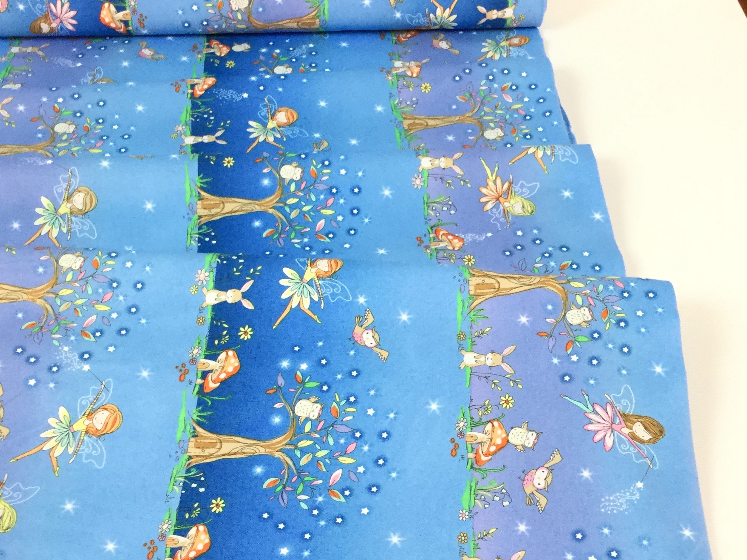 Starry Night Forest Border Stripe Blue Forest Friends | Etsy