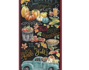 """24"""" Fall Panel Fabric ~ from Rake and Bake Collection by Lily Ford for Blank Quilting Fabrics, 100% Quilt Cotton Fabric"""