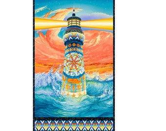 """24"""" Lighthouse Panel Fabric ~  The Lightkeeper's Quilt Collection Designed by Quilt-ish of Cape Cod for StudioE Fabrics"""