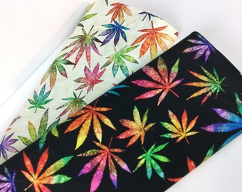 NEW*** Large Cannabis Leaves Cream or Black Fabric ~ Happy Harvest Collection by Dan Morris for QT Fabrics, 100% Quilting Cotton