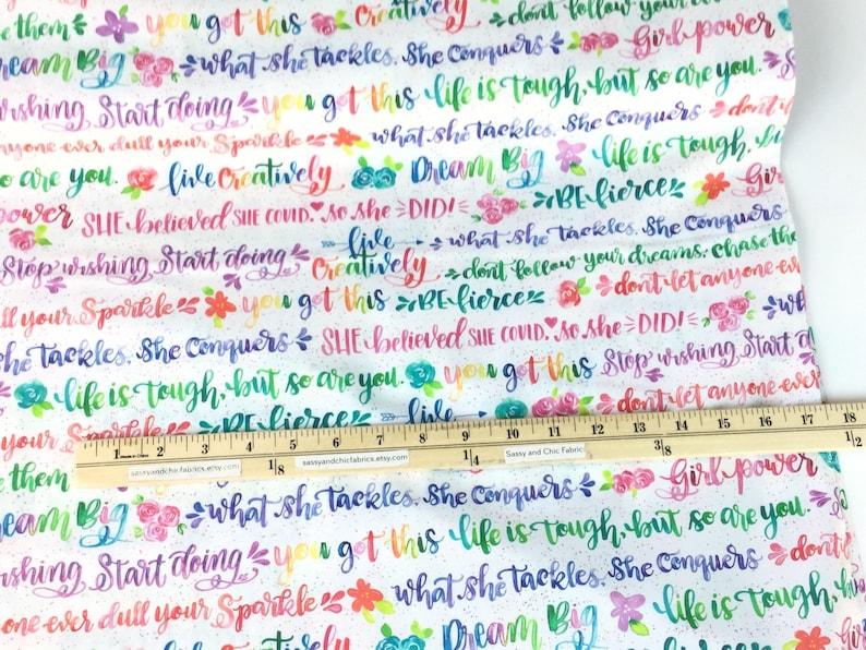 Girl Power 2 Words Rainbow Fabric ~  Robert Kaufman Collection Quilting Cotton