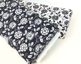 Mod Floral Black or White Fabric ~ Opposite Attract Collection from QT Fabrics, 100% Quilting Cotton