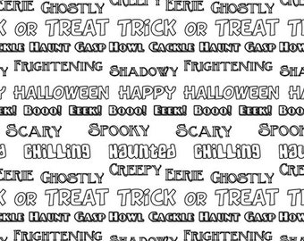 Halloween Letters Gray/White Fabric ~ from  Booooville Halloween Collection from Benartex Fabrics, 100% Quilting Cotton
