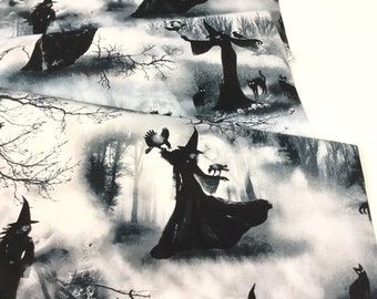 Spooky Witch Grey Fabric ~ Wicked Fog Collection  from Timeless Treasures, 100% Quilting Cotton Fabric