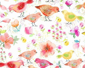 Watercolor Spring Song Birds White Fabric ~ Spring Song Collection from Timeless Treasures Fabrics, 100% Quilting Cotton