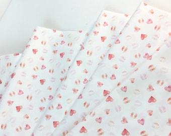 Love Hearts White Fabrics ~ Summer Lovin' Collection from Dear Stella Designs,  100% Quilting Cotton